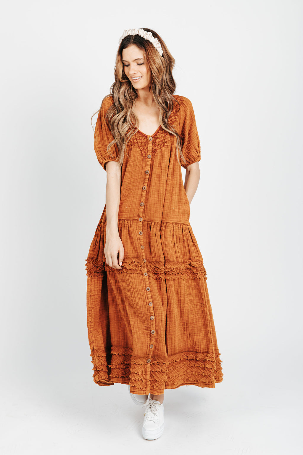 Free People: Sunday Stroll Maxi Dress in Burnt Clay Combo, studio shoot; front view