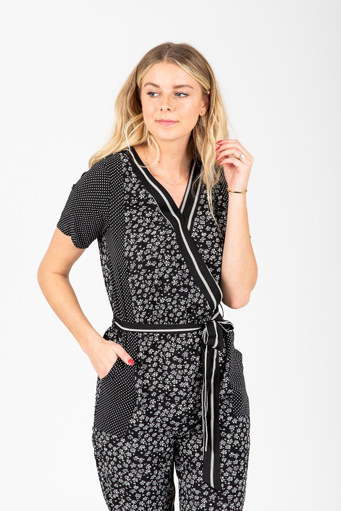 Piper & Scoot: The Keri Mixed Wrap Jumpsuit in Black