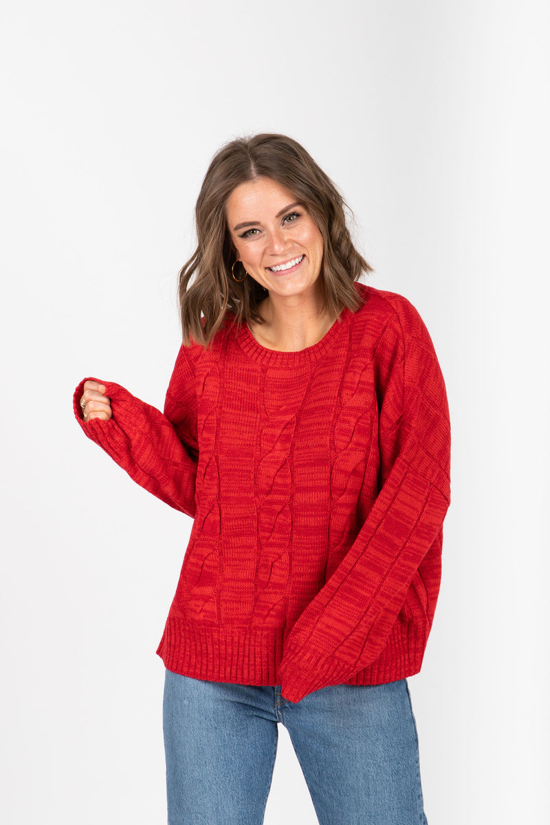 The Form Casual Sweater Blouse in Red, studio shoot; front view