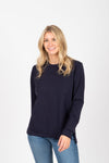 Piper & Scoot: The Crew Long Sleeve in Navy, studio shoot; front view