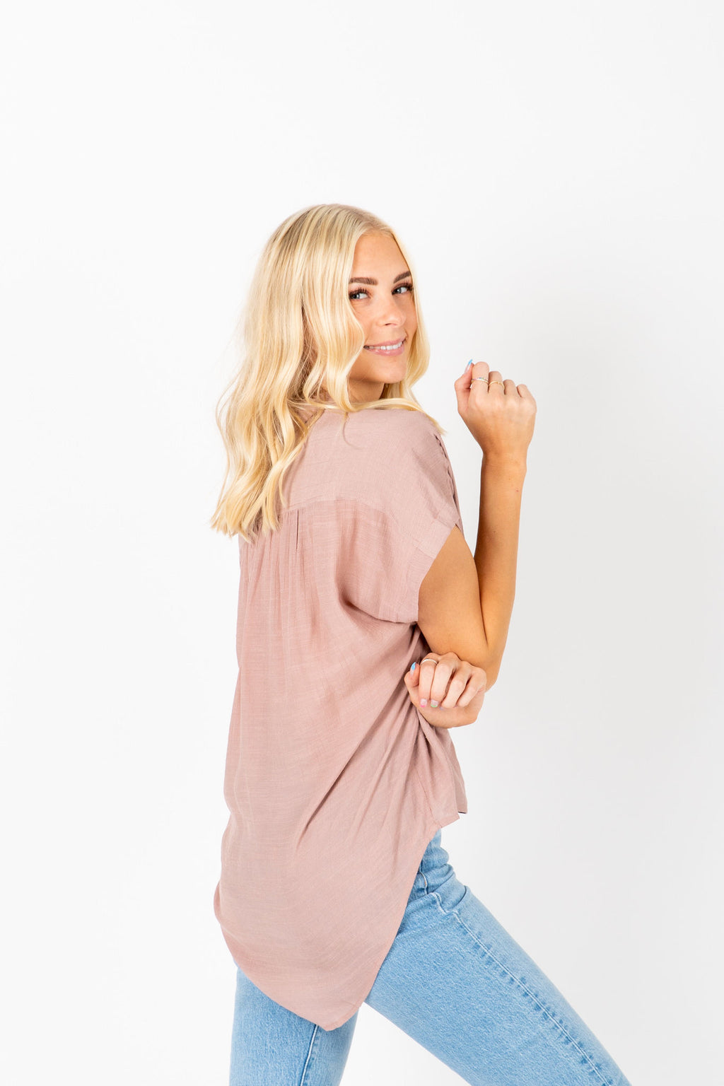 The Erica Collared Popover Blouse in Mauve, studio shoot; side view