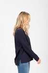 Piper & Scoot: The Crew Long Sleeve in Navy, studio shoot; side view
