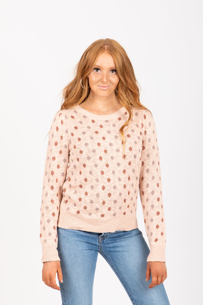The Kat Dot Sweater in Mauve
