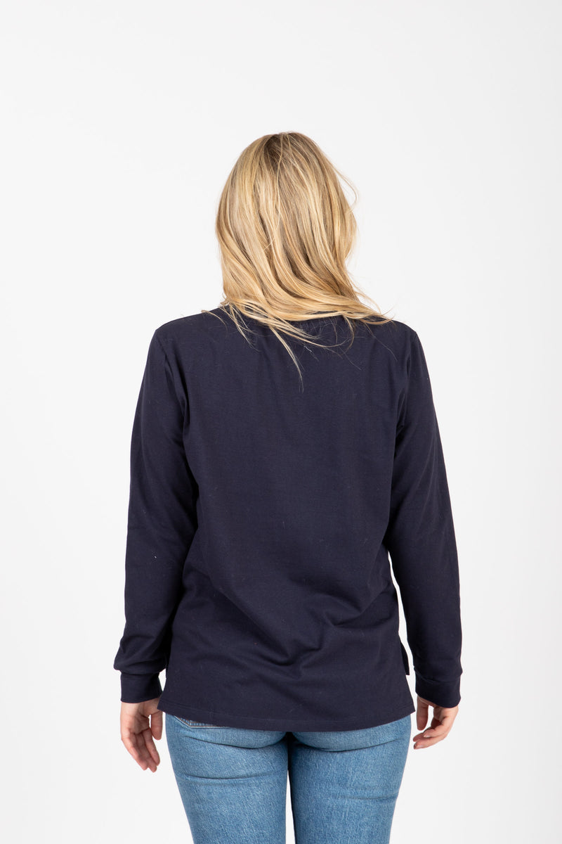 Piper & Scoot: The Crew Long Sleeve in Navy, studio shoot; back view