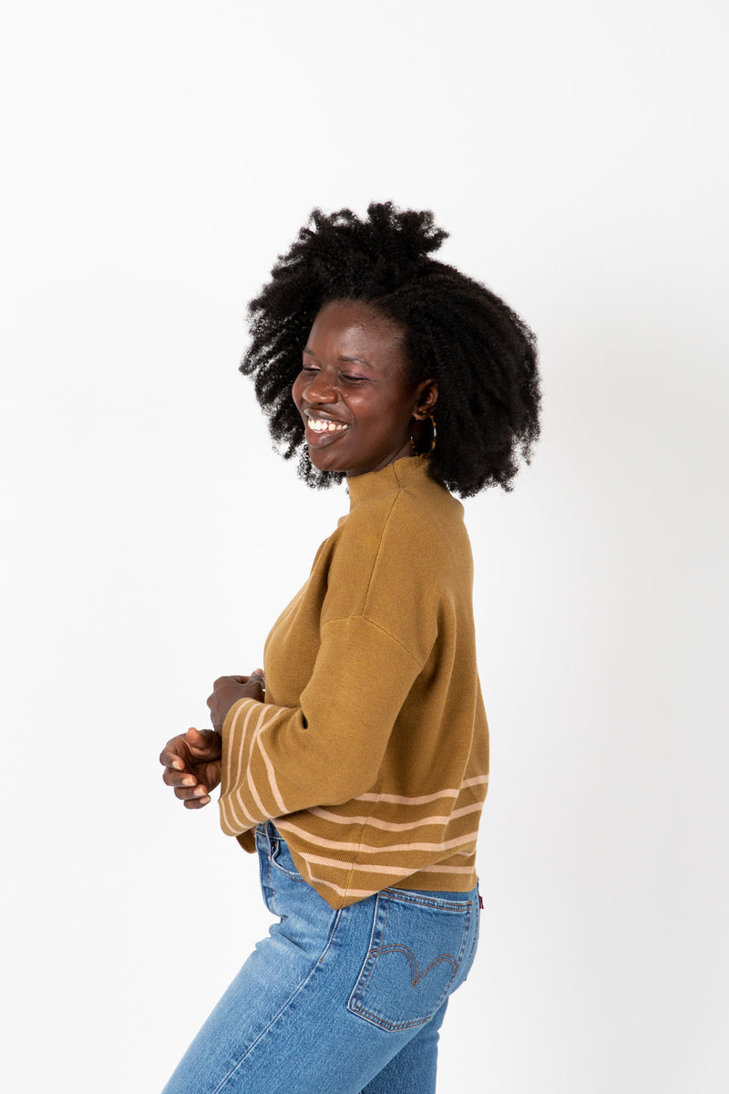 The Chandler Pairing Knit Top in Herb, studio shoot; side view
