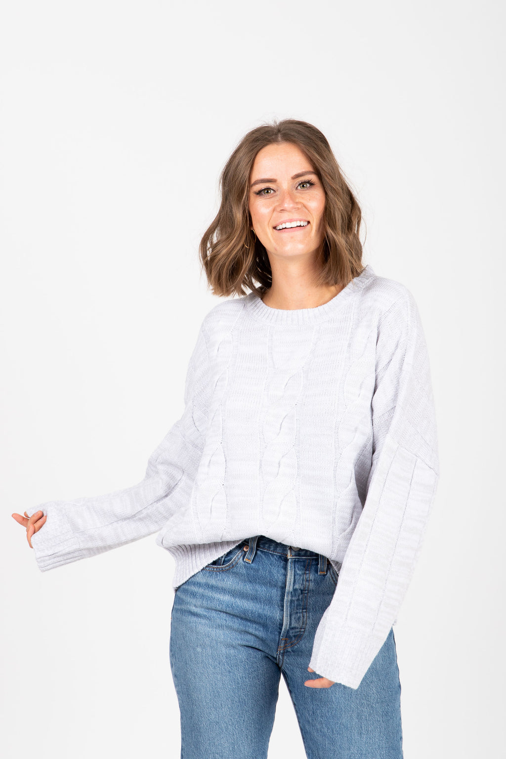 The Form Casual Sweater Blouse in Grey, studio shoot; front view
