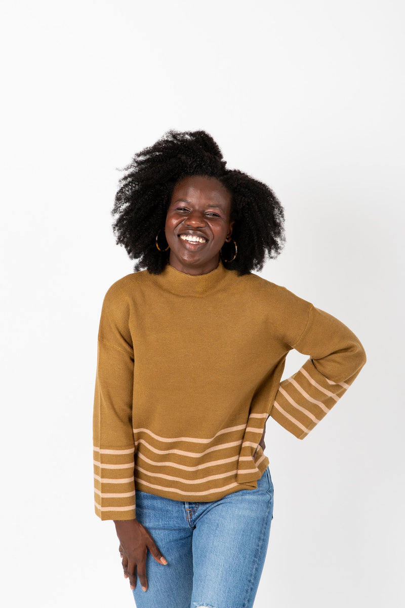 The Chandler Pairing Knit Top in Herb, studio shoot; front view