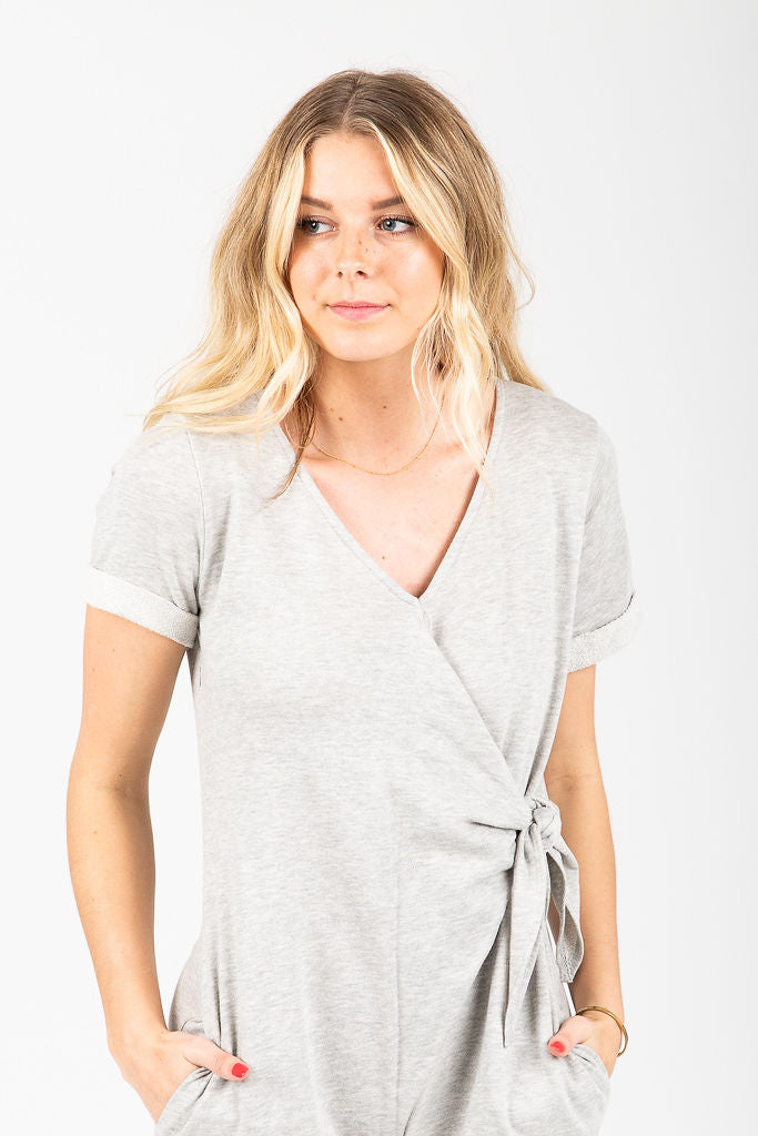 The Princeton Casual Tie Jumpsuit in Heather Grey