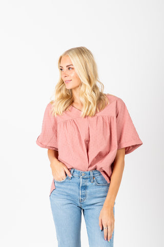 The Breck Triangle Blouse in Ivory