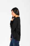 Piper & Scoot: The Crew Long Sleeve in Black, studio shoot; side view