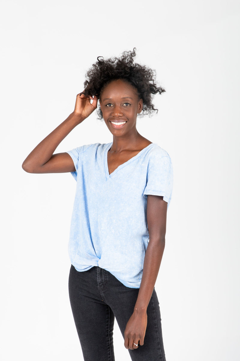 ,The Samuel Side Knot Tee in Blue, studio shoot; front view