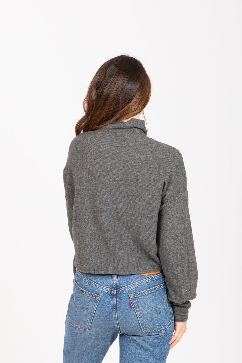 The Shimmer Mock Neck Sweater Blouse in Charcoal