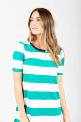 The Holland Striped Casual Dress in Green
