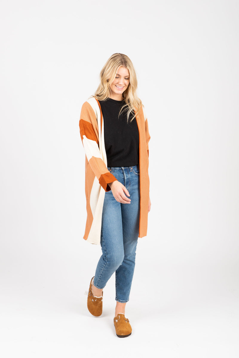 The Colin Striped Cardigan in Rust, studio shoot; front view