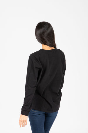 Piper & Scoot: The Crew Long Sleeve in Black, studio shoot; back view