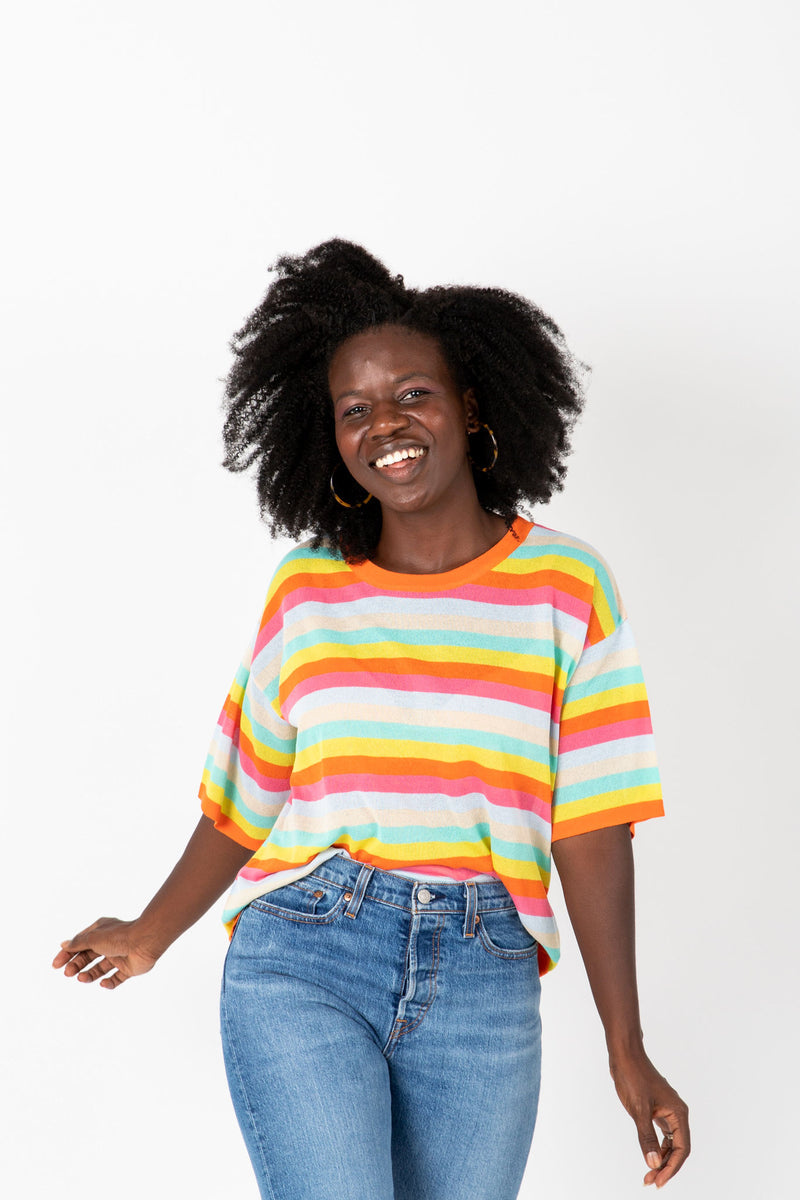 The Stiller Striped Knit Blouse in Multi, studio shoot; front view