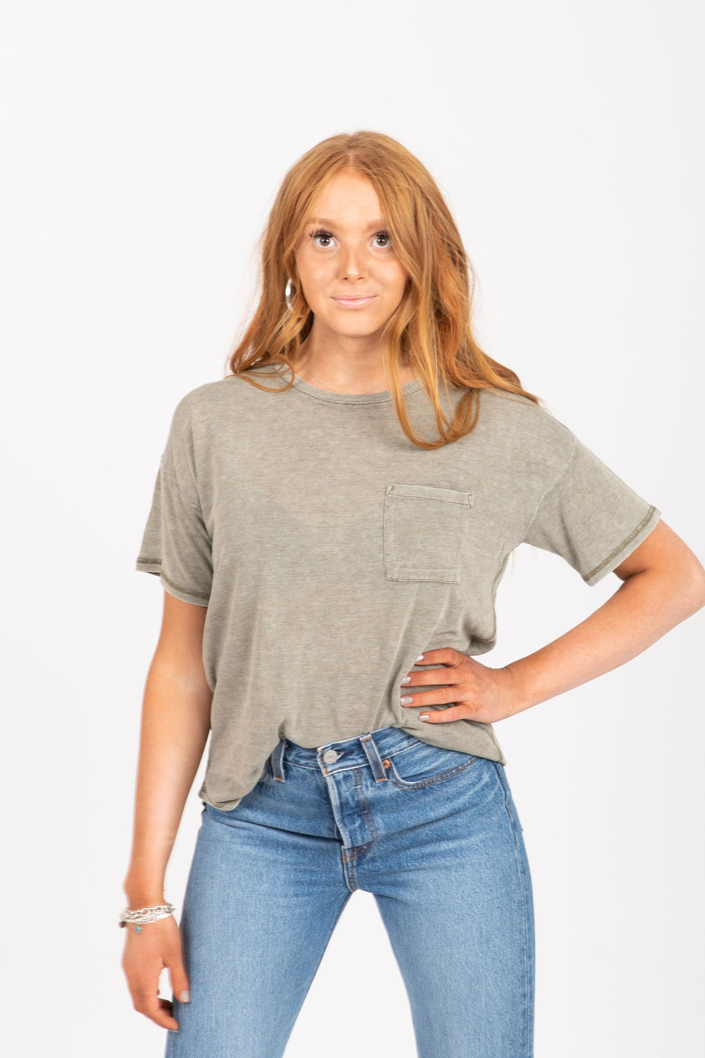 The Denison Pocket Tee in Olive Green