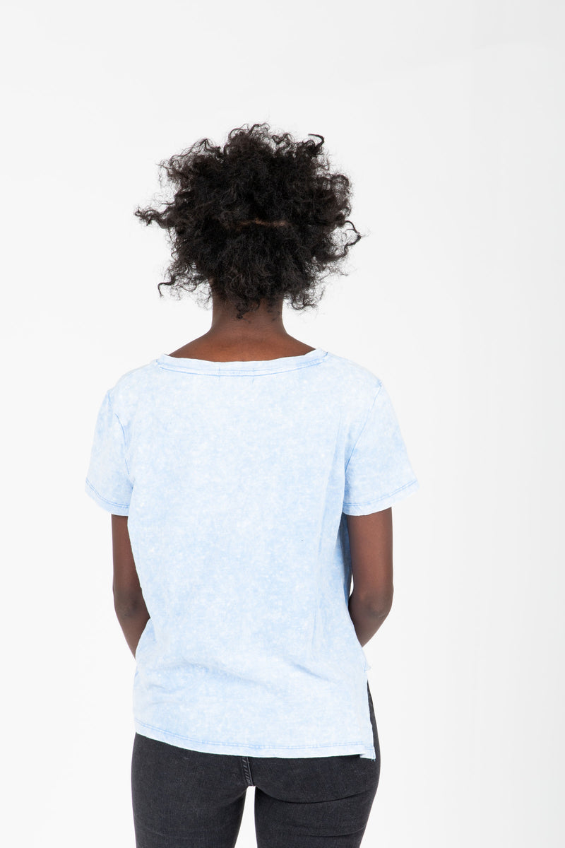 ,The Samuel Side Knot Tee in Blue, studio shoot; back view