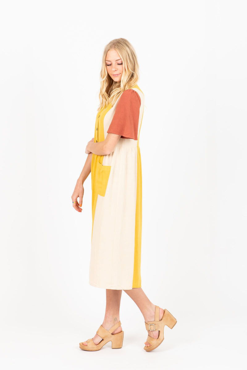 The Munroe Colorblock Dress in Sunset