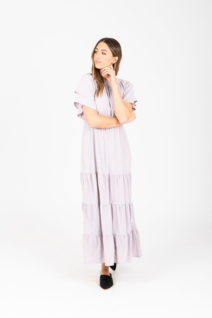Piper & Scoot: The Kelsey Tiered Maxi Dress in Grey