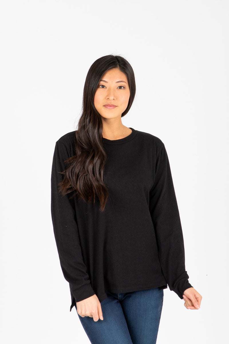 Piper & Scoot: The Crew Long Sleeve in Black, studio shoot; front view