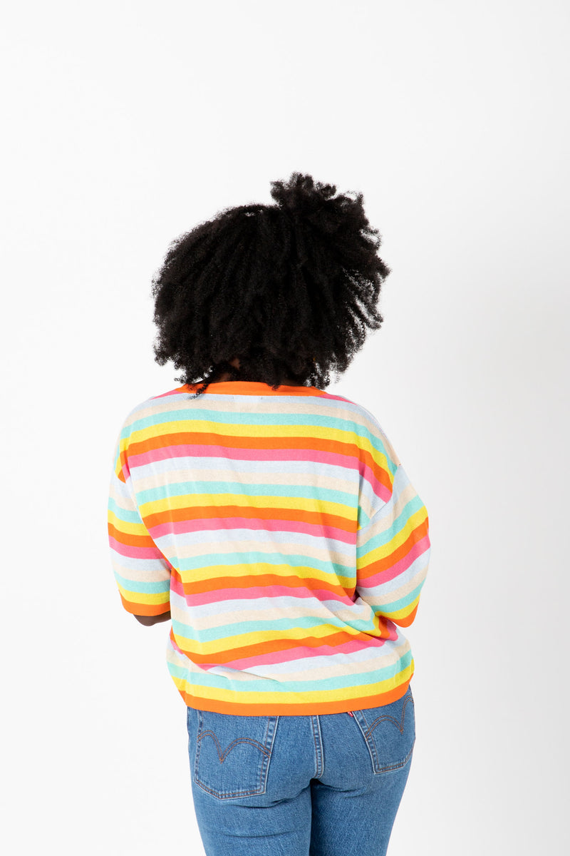 The Stiller Striped Knit Blouse in Multi, studio shoot; back view