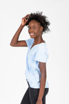 ,The Samuel Side Knot Tee in Blue, studio shoot; side view