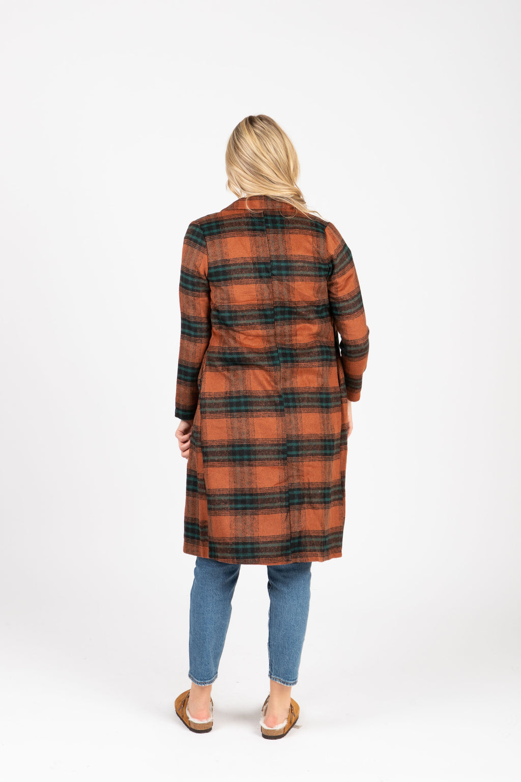 The Gravity Plaid Sweater Coat in Coco, studio shoot; back view