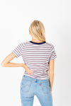 The Welker Striped Ribbed Tee in Navy, studio shoot; back view