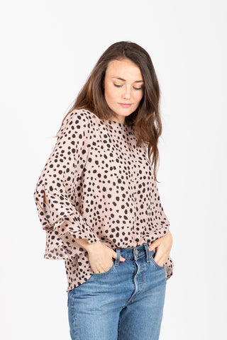 The Mood Swiss Dot Blouse in Dandelion