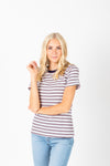 The Welker Striped Ribbed Tee in Navy, studio shoot; front view