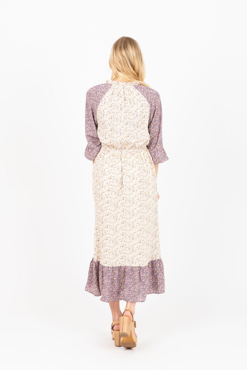 The Foundry Floral Contrast Dress in Ivory