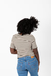 The Laurie Striped Mock Neck Blouse in Olive, studio shoot; back view