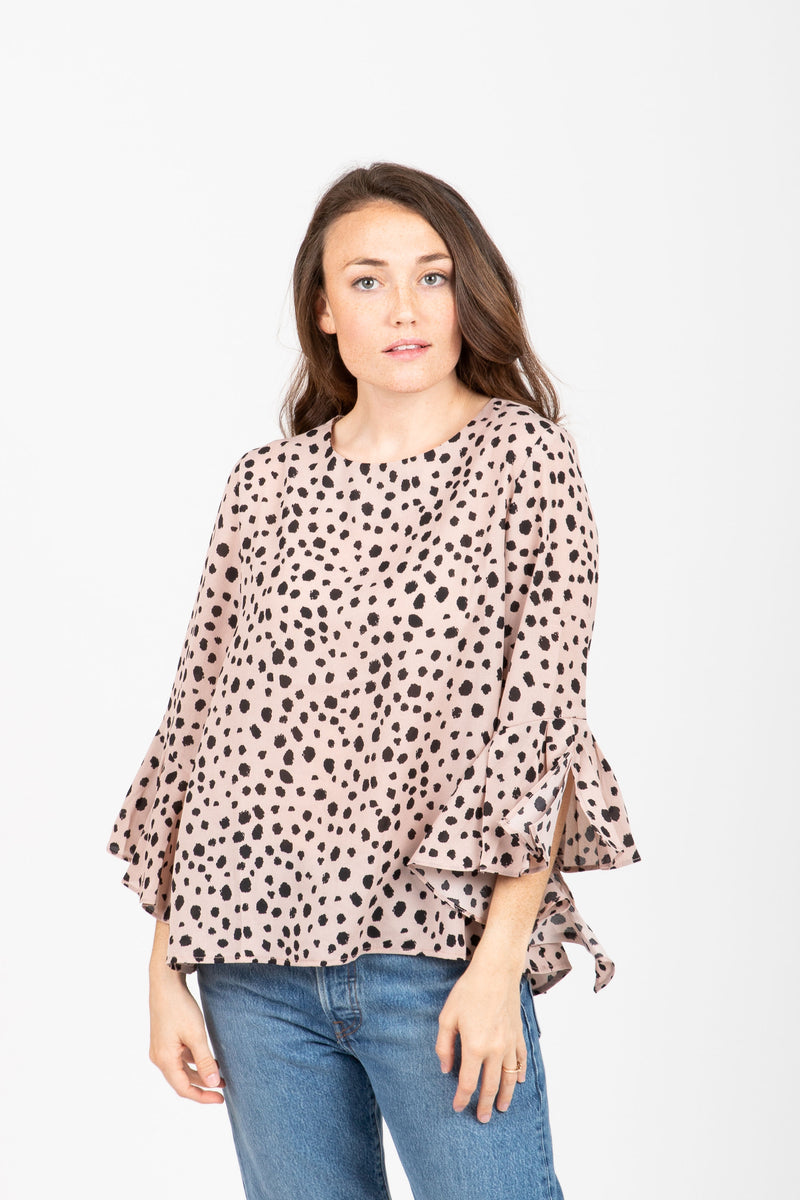 The Dalmation Flare Sleeve Blouse in Blush