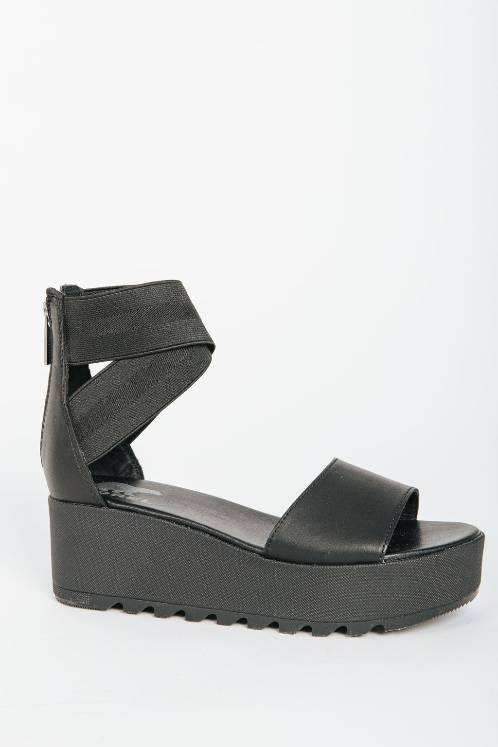 SOREL: Cameron Flatform Ankle Strap Wedge Sandal in Black, studio shoot; side view