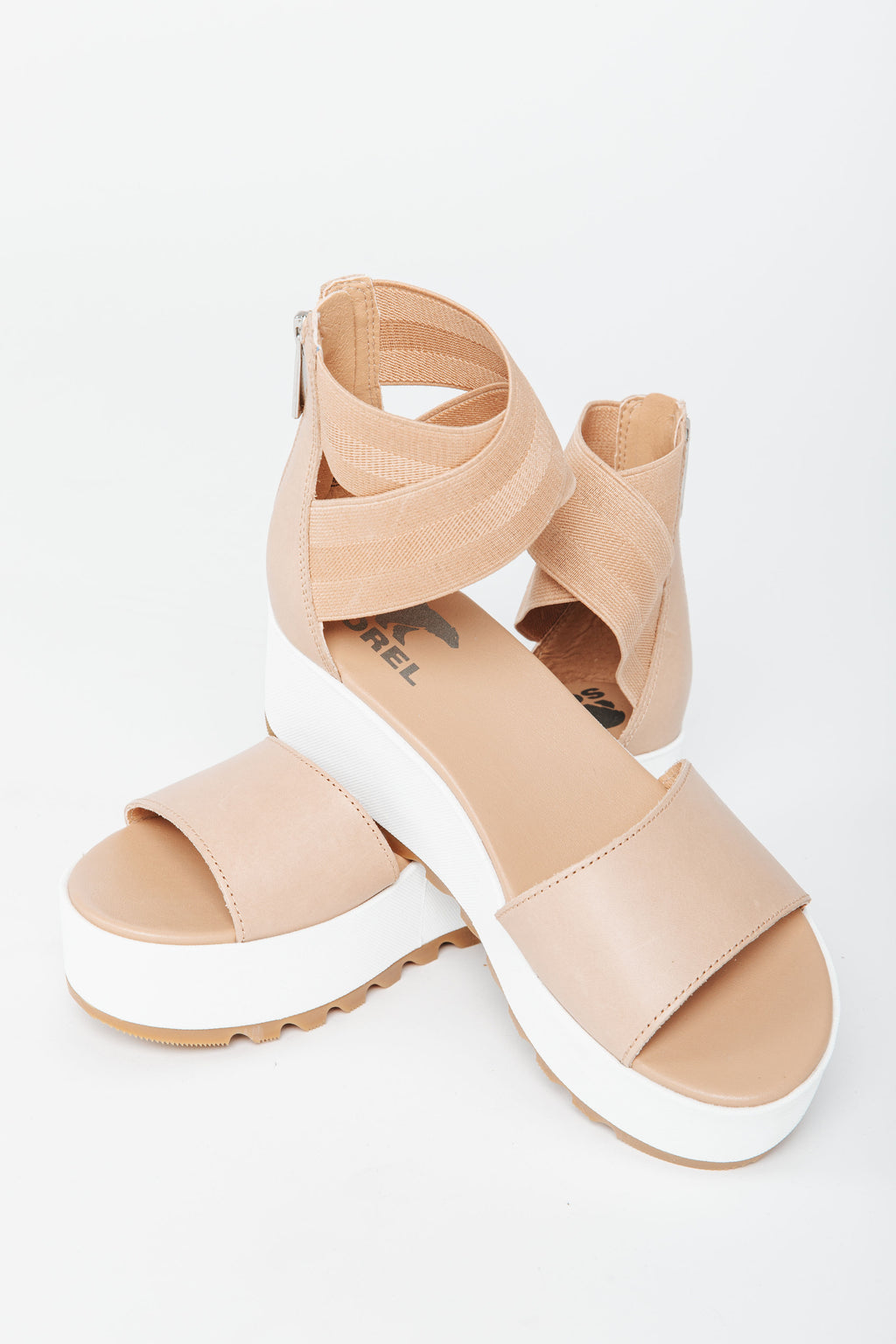 SOREL: Cameron Flatform Ankle Strap Wedge Sandal in Honest Beige, studio shoot; side view