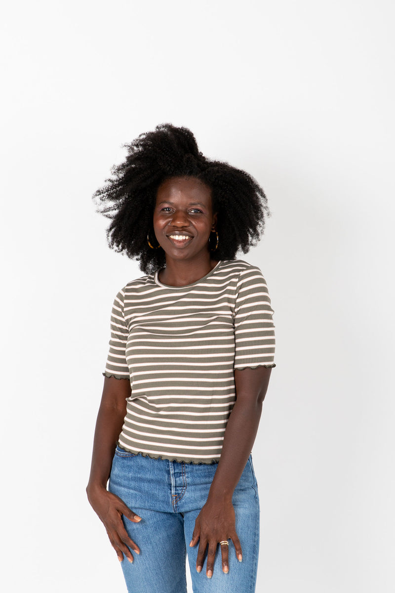 The Laurie Striped Mock Neck Blouse in Olive, studio shoot; front view