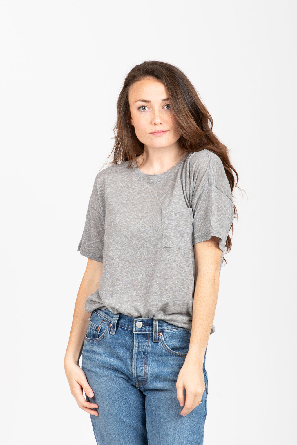 The Denison Pocket Tee in Heather Grey