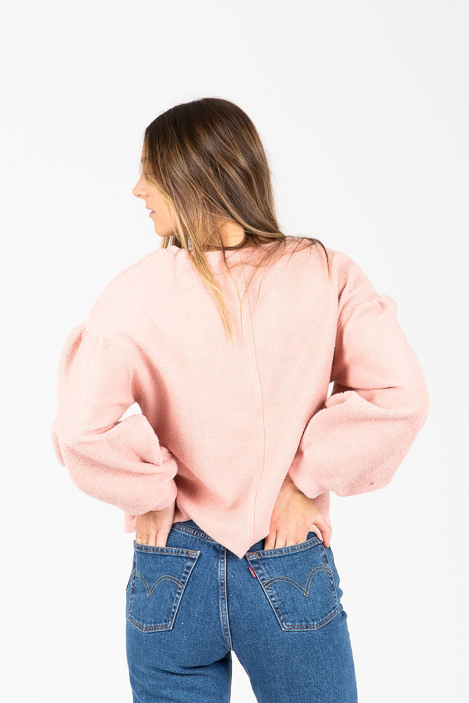 The Margeaux Terry Blouse in Blush