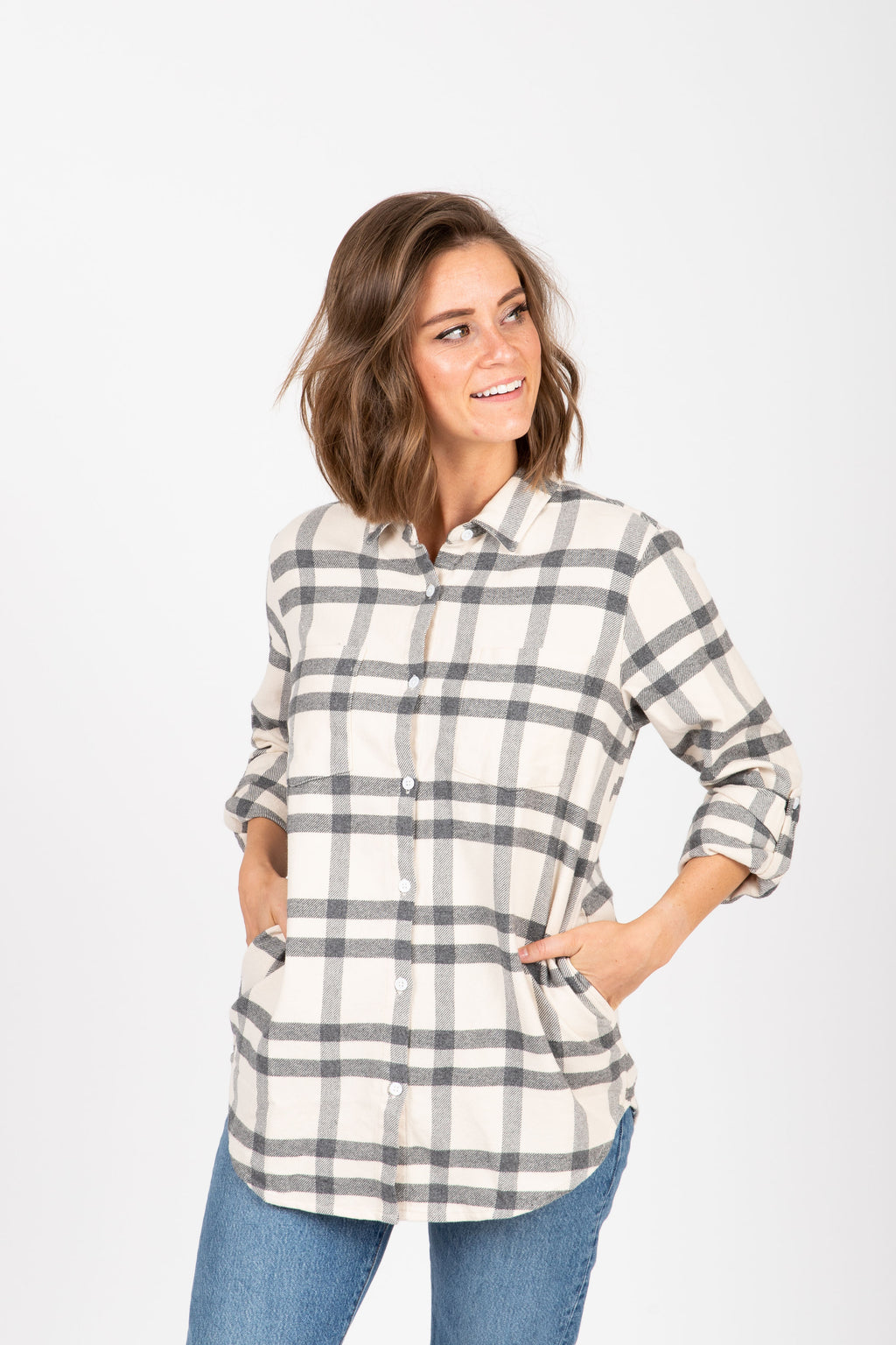 The Drexel Shirt in Grey Plaid, studio shoot; front view