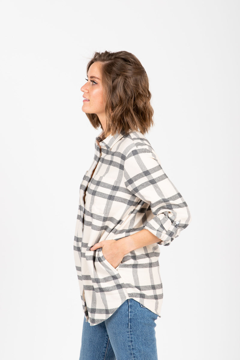 The Drexel Shirt in Grey Plaid, studio shoot; side view