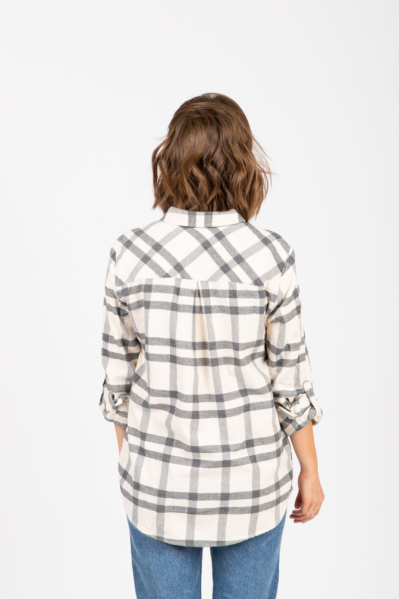The Drexel Shirt in Grey Plaid, studio shoot; back view