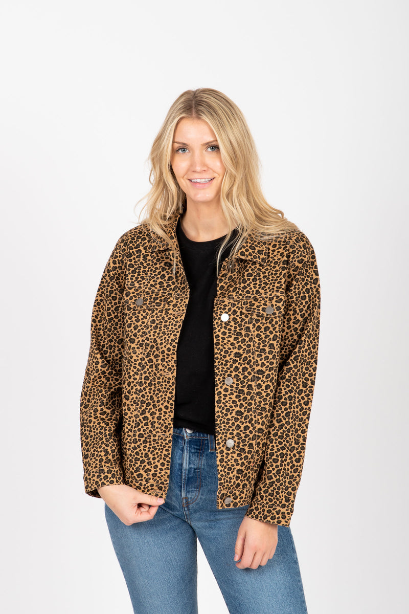 The Kalina Denim Jacket in Leopard, studio shoot; front view