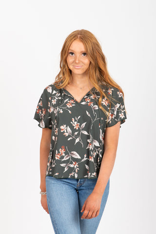 The Nomad Floral Empire Blouse in Red