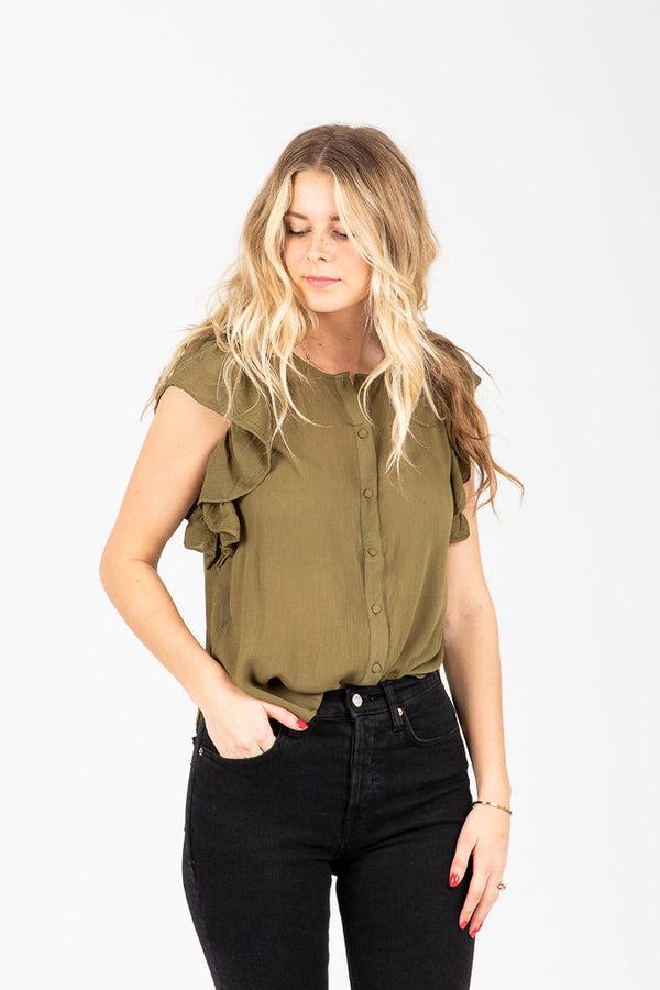The Gabriele Button Ruffle Blouse in Olive