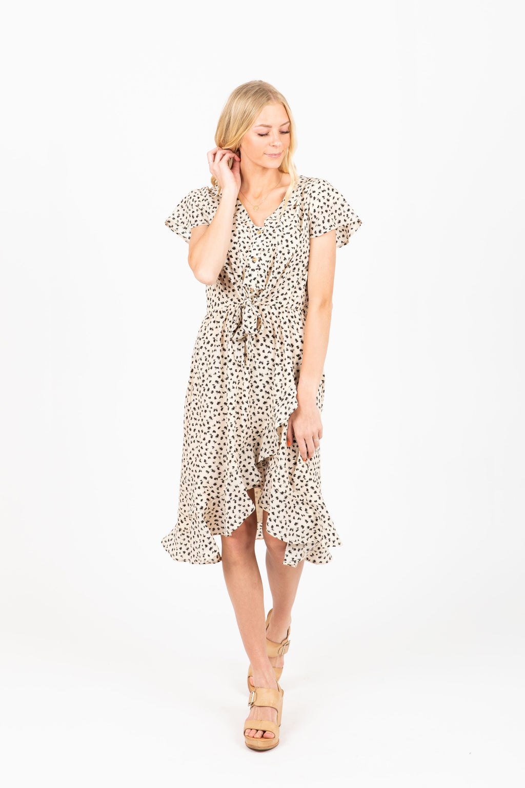 Piper & Scoot: The Abigail Tie Front Ruffle Dress in Animal Print
