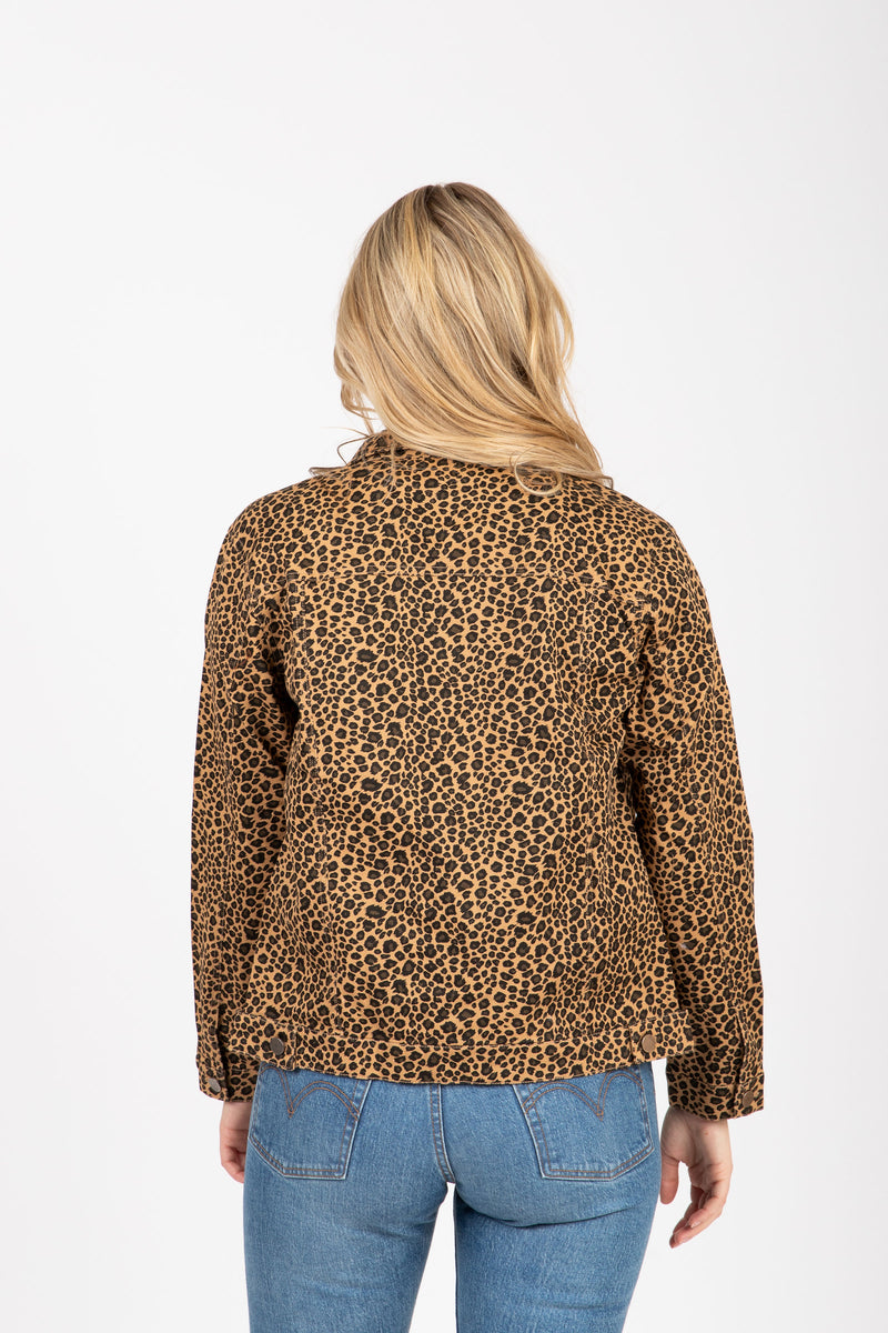 The Kalina Denim Jacket in Leopard, studio shoot; back view