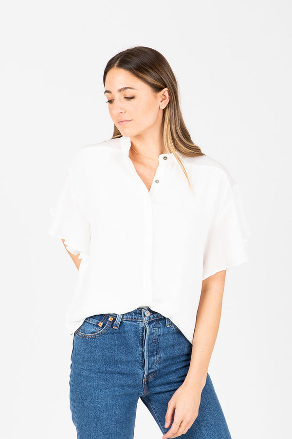 The Oliver Flutter Button Blouse in White
