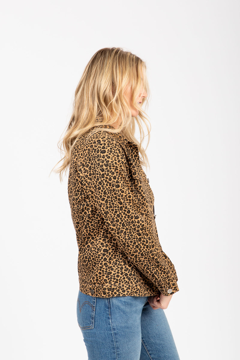 The Kalina Denim Jacket in Leopard, studio shoot; side view