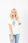 The Get Em' Game Day Tee in White, studio shoot; front view